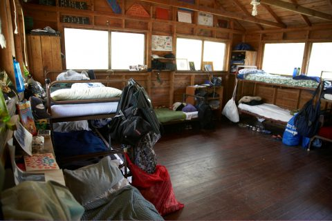 Inside of boys cabin at Camp Thunderbird